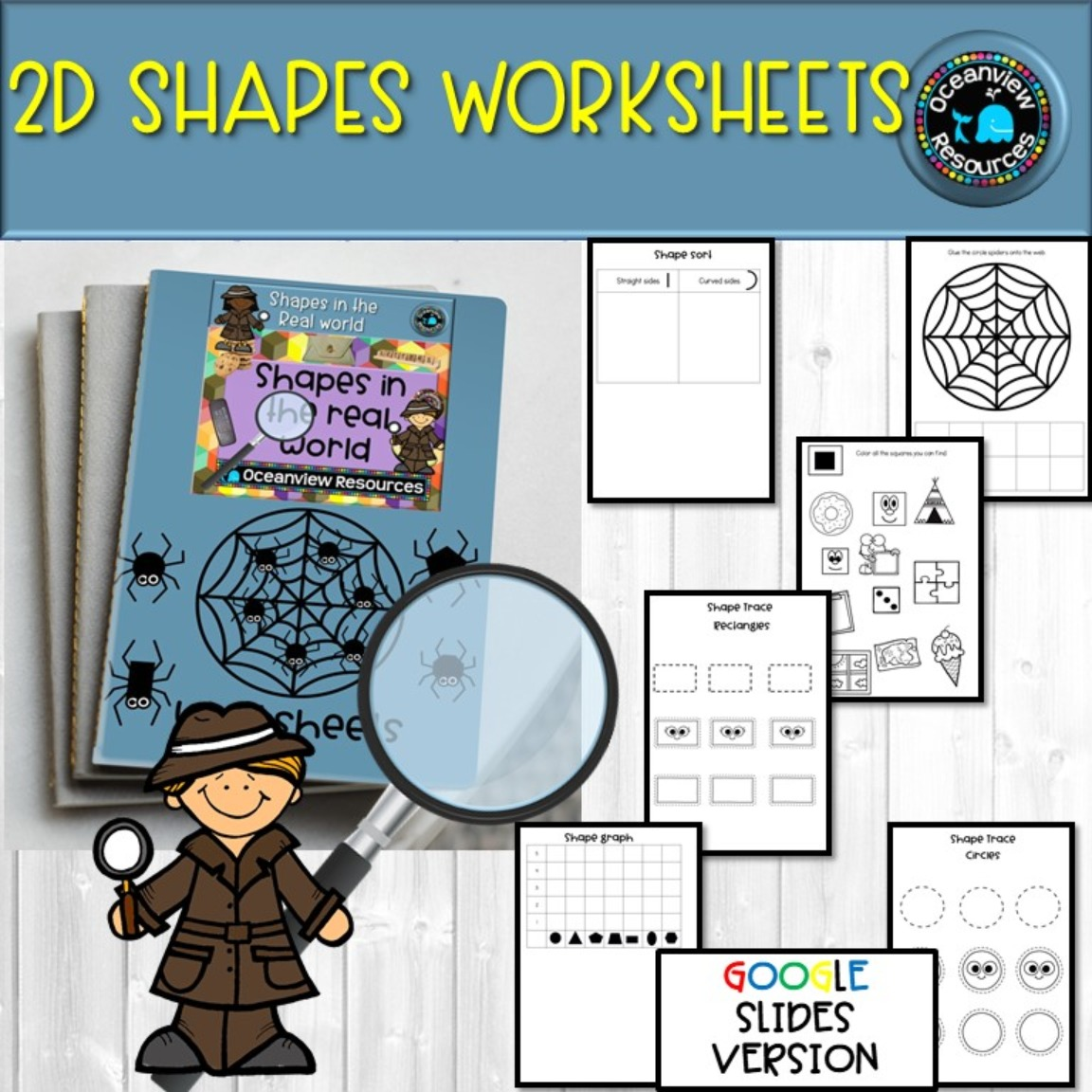 2D worksheets - UK and AUS/UK spelling GOOGLE version