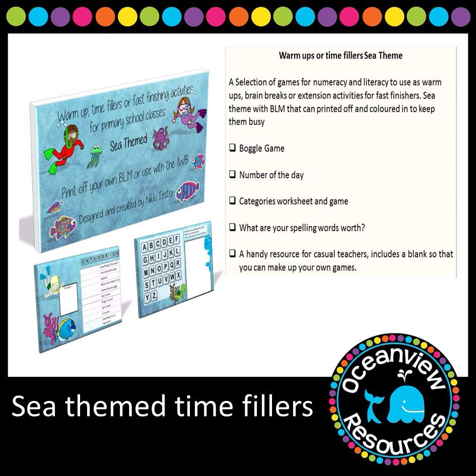 Warm ups or Time fillers Sea themed