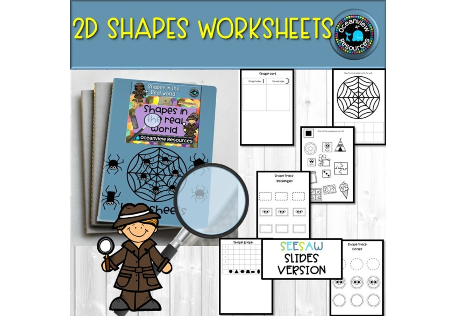 2D worksheets - UK and AUS/UK spelling SEESAW version