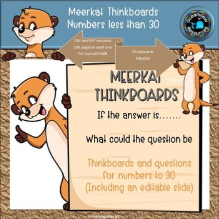 Meerkat Math THINKBOARDS- What is the question?- Numbers less than 30