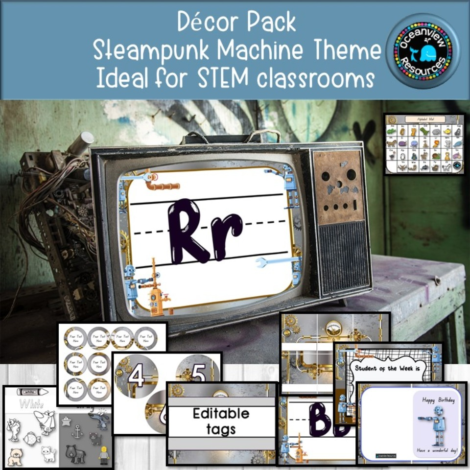 Steampunk Machine DECOR, ideal for STEM CLASSROOMS