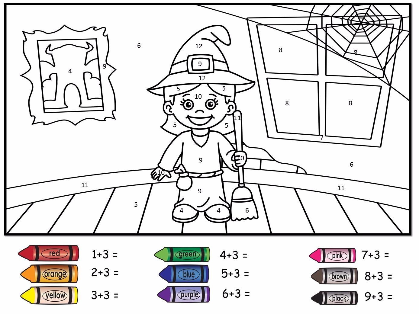 Halloween Themed Colour by Number- Addition to 20