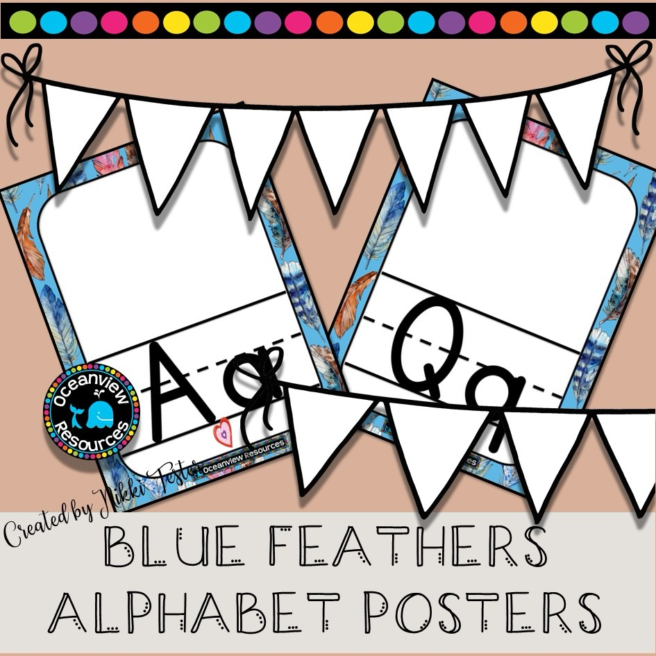 Alphabet Posters -BLUE FEATHERS