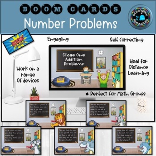 BOOM CARDS-Word Problems Stage 1