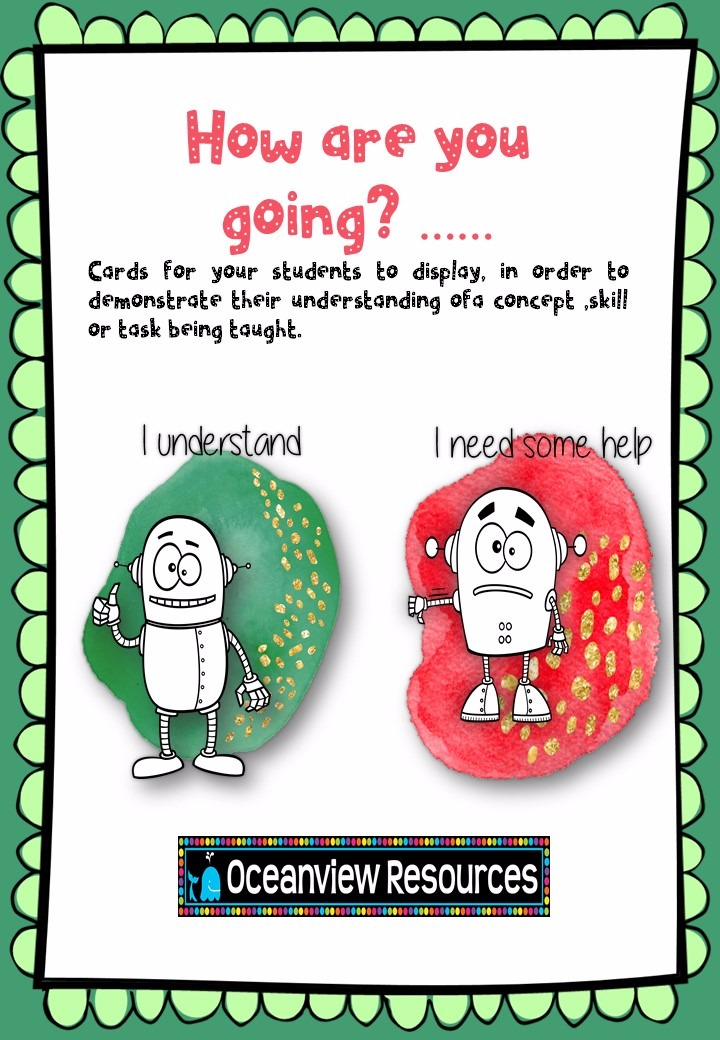 How are you going?.....cards to determine understanding