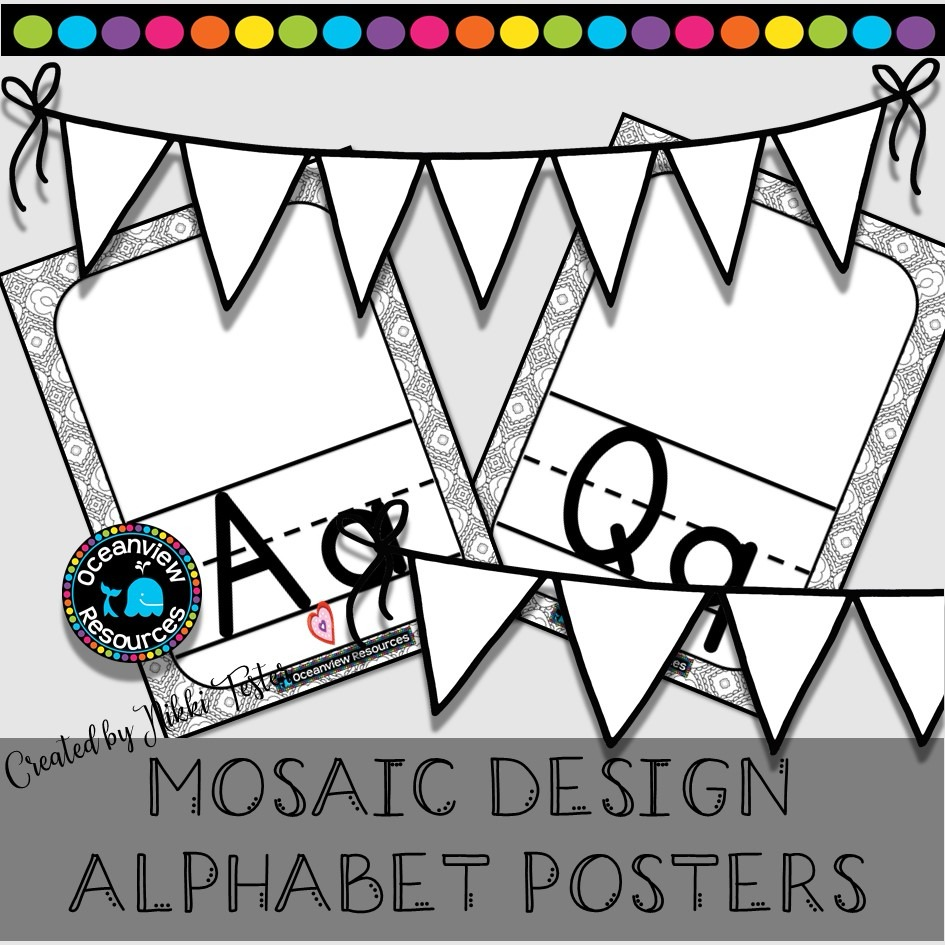 Alphabet Posters -Black and White Kaleidoscope Squares-Mosaic Design