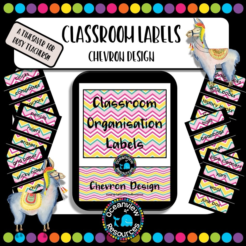 Classroom Labels - Chevron Design with black border- US and UK spelling