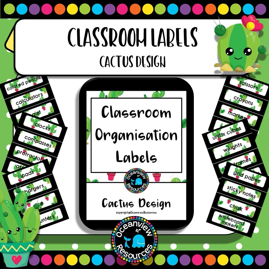 Classroom Labels - Cactus theme- US and UK spelling