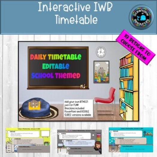 Editable Timetable for IWB- SCHOOL THEMED Set 1