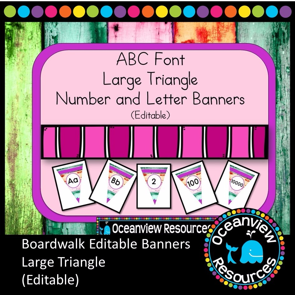 Boardwalk Bunting - ABC Font (Editable) LARGE Triangle Banners