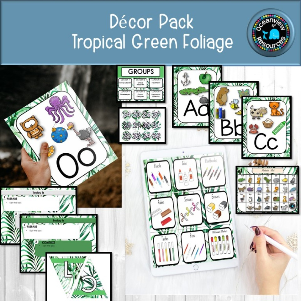 Tropical Green Foliage Decor Pack