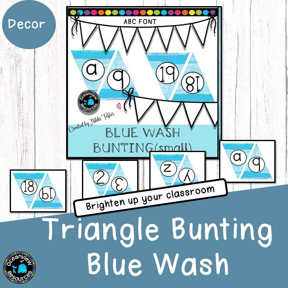 Bunting-Alphabet and Numbers 0-20-Blue wash pattern