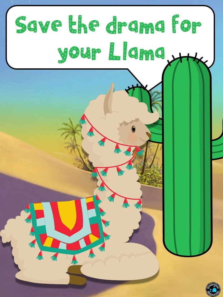 Llama posters for behaviour and problem solving