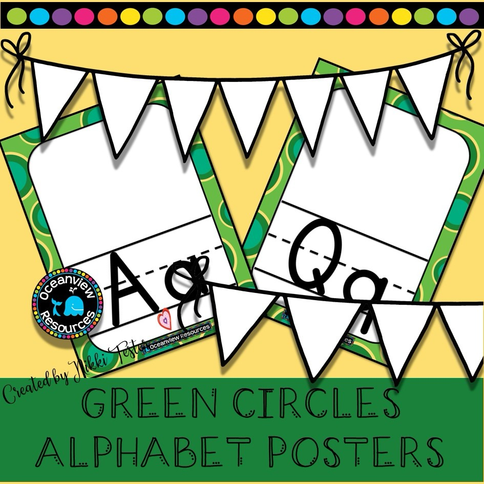Alphabet Posters -LARGE GREEN CIRCLES