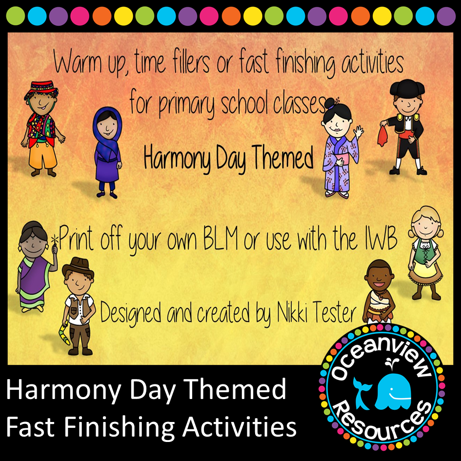 Warm ups or Time fillers Harmony Day  themed