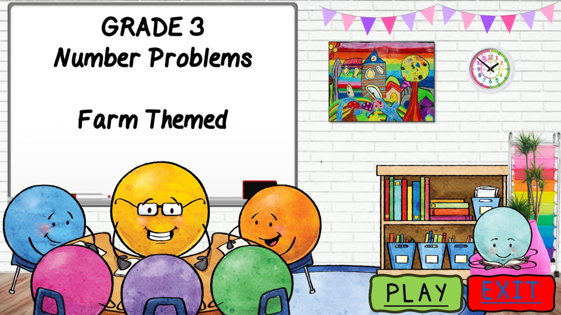 Farm Math Problems for Middle Primary students-Powerpoint game and worksheets
