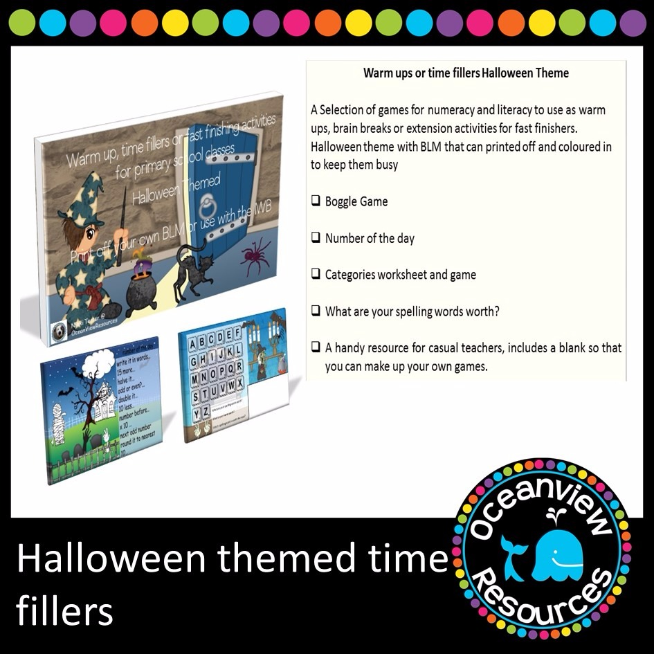 Warm up, Time fillers or early finishing activities. Halloween themed