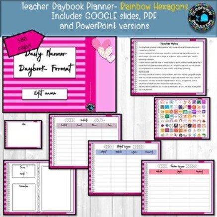 Daybook Planner for Teachers- PINK STRIPED