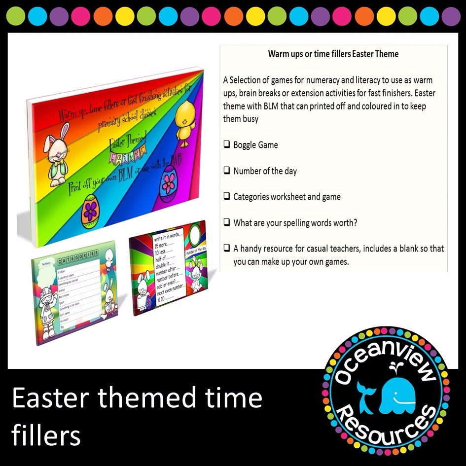 Warm ups or Time fillers Easter themed