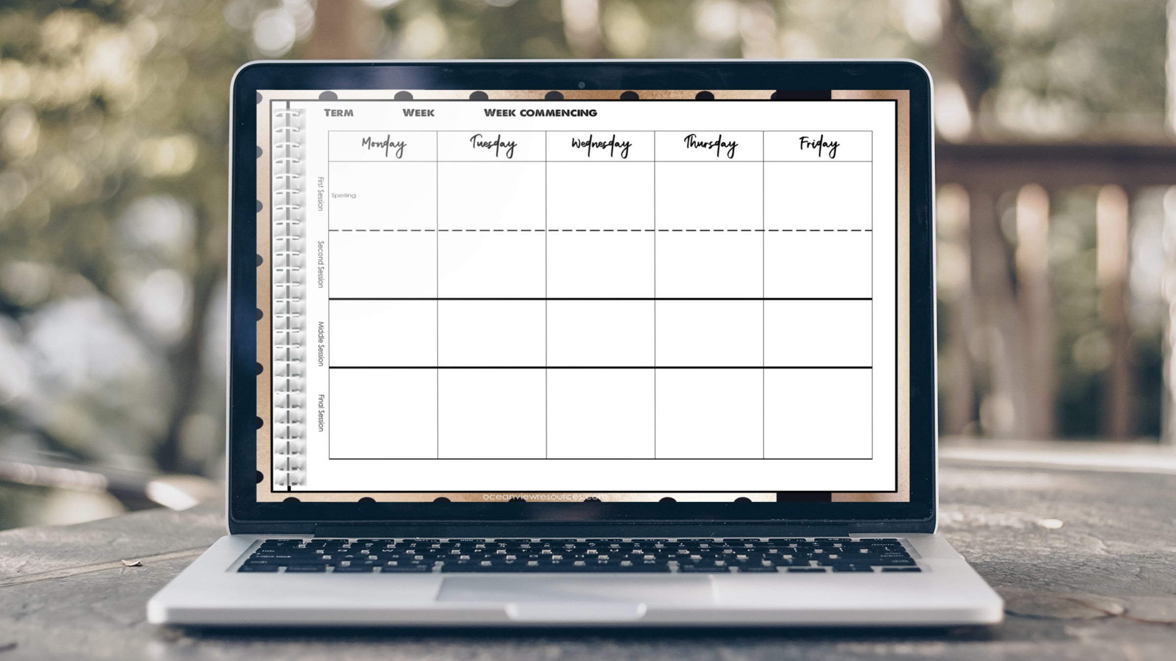 Daybook Planner for Teachers- Rose Gold and Black SPOTS