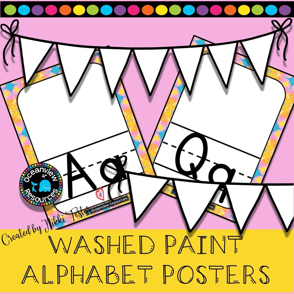 Alphabet Posters -Painted wash design