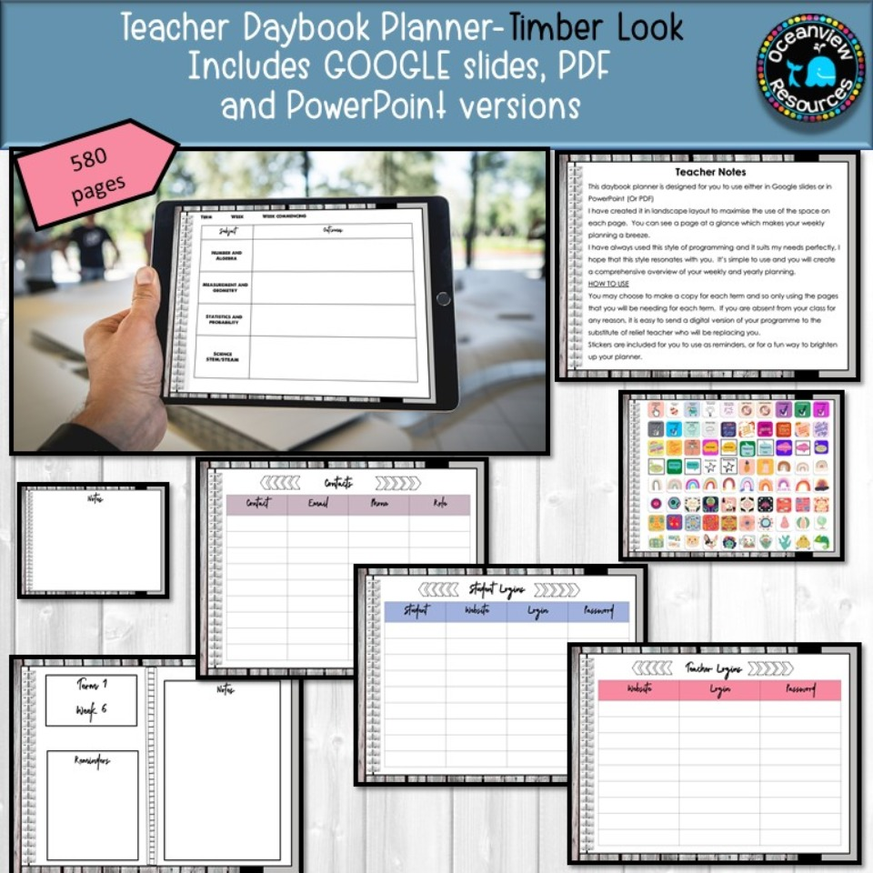 Daybook Planner for Teachers- Whitewashed Timber design