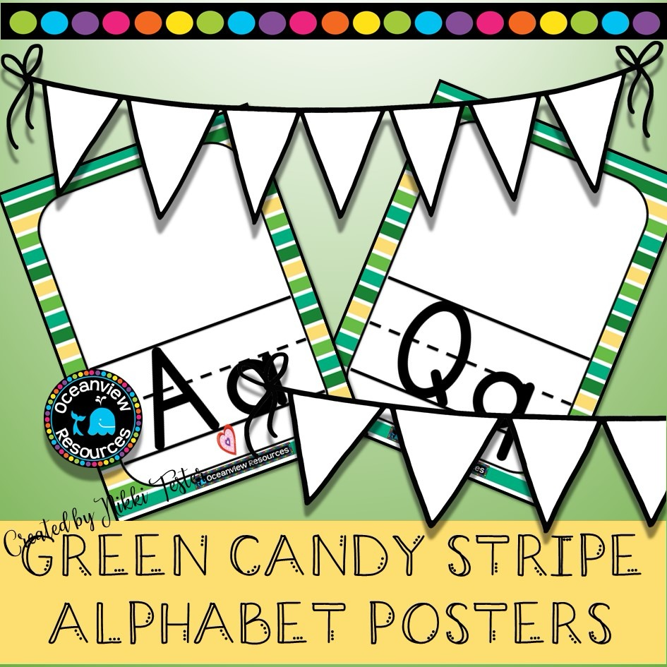 Alphabet Posters - - GREEN CANDY STRIPE
