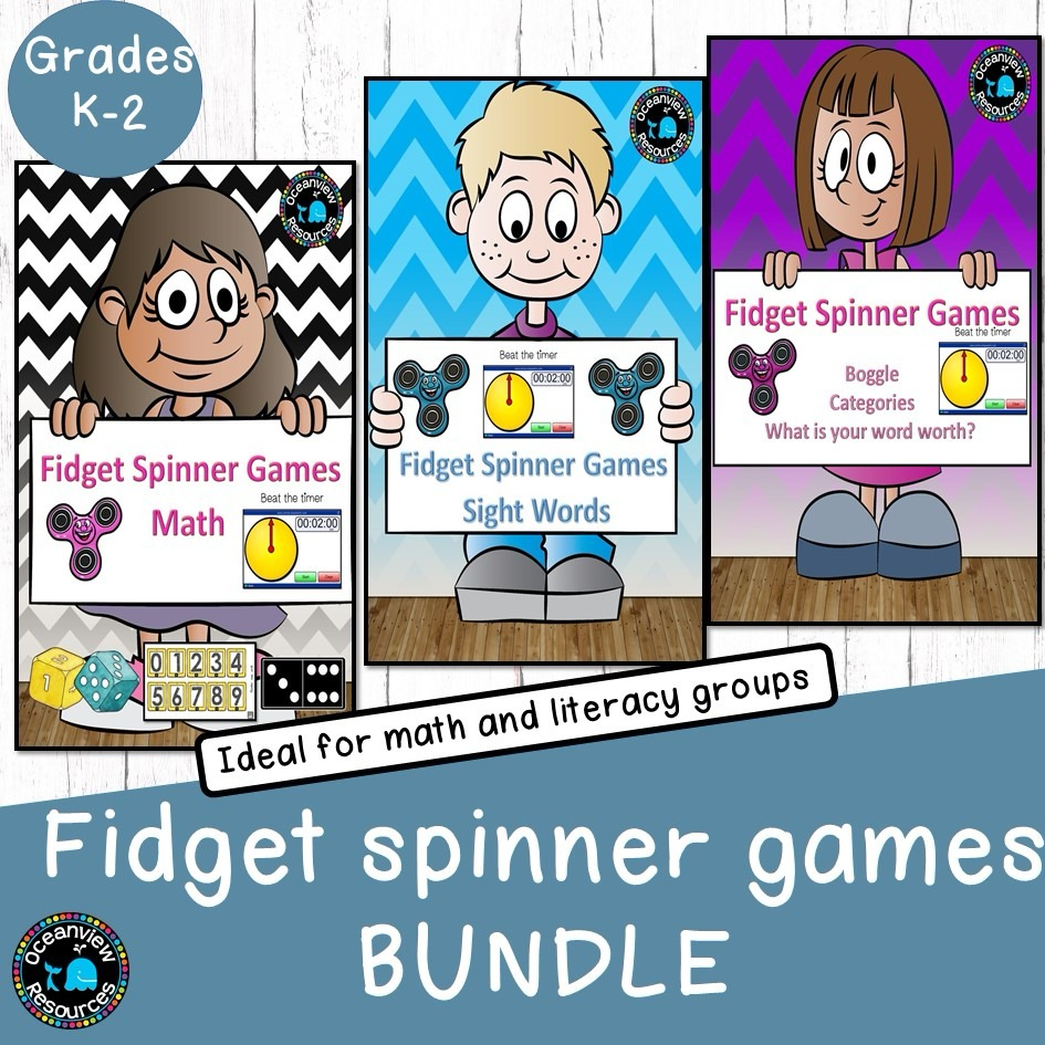 Fidget Spinner and Stopwatch timed Math,Literacy and Sight Word Bundle