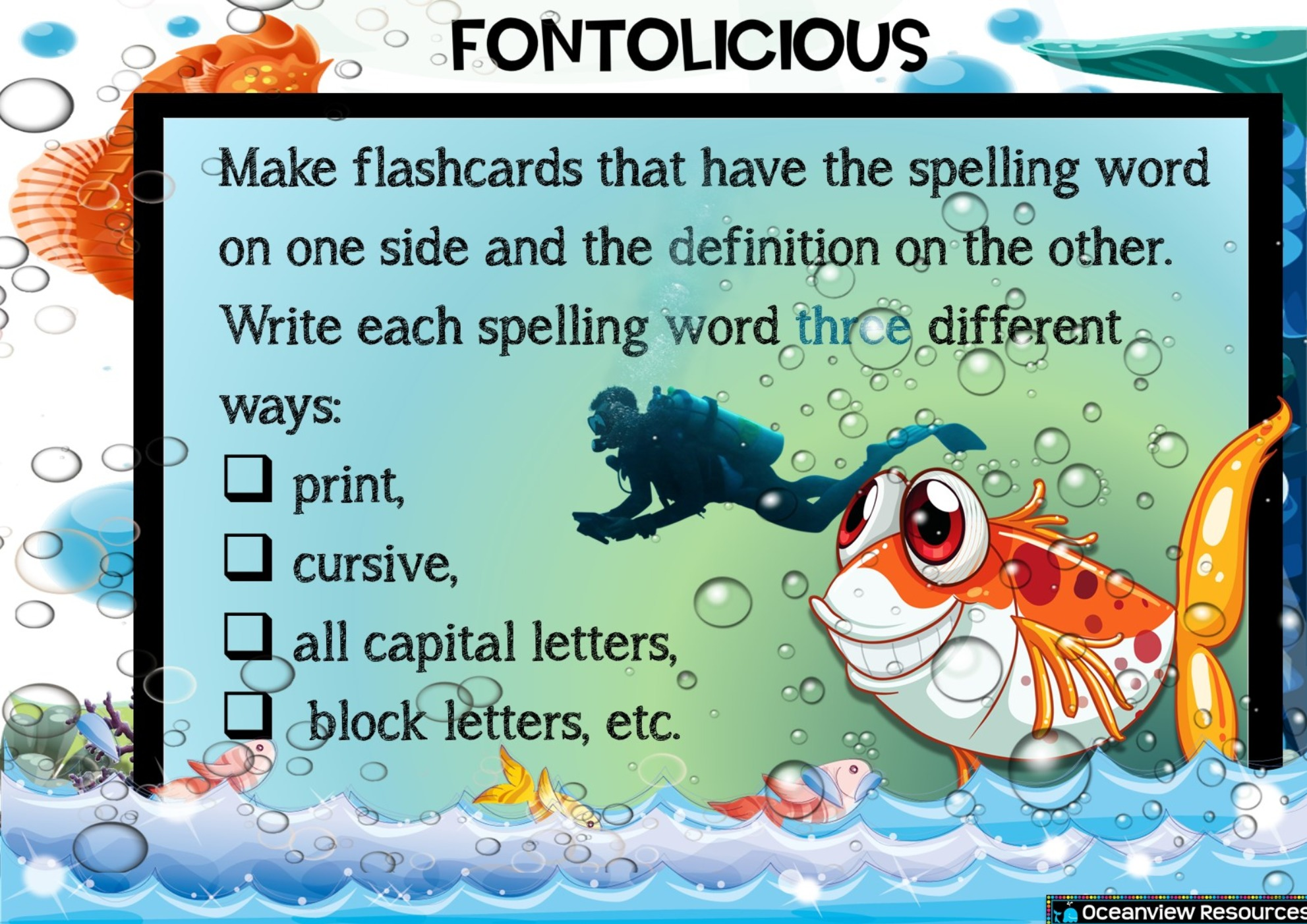 Spelling Choice board Middle Primary- Ocean Theme