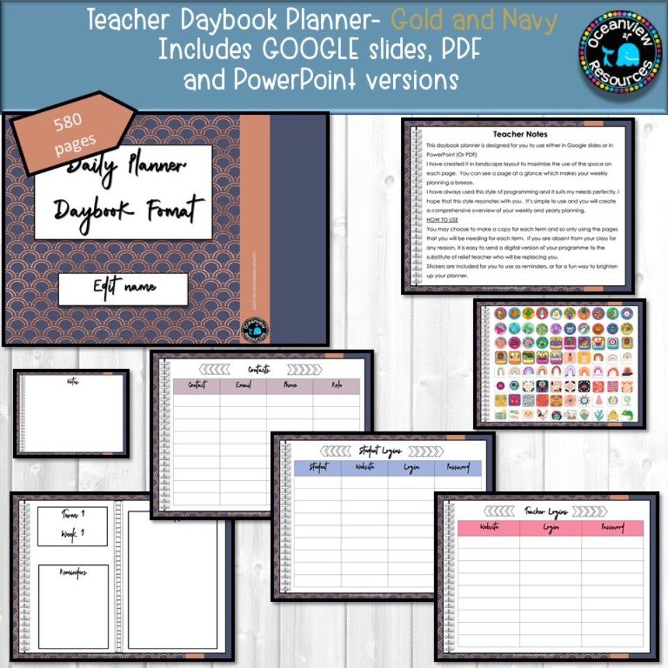 Daybook Planner for Teachers-ROSE GOLD AND NAVY
