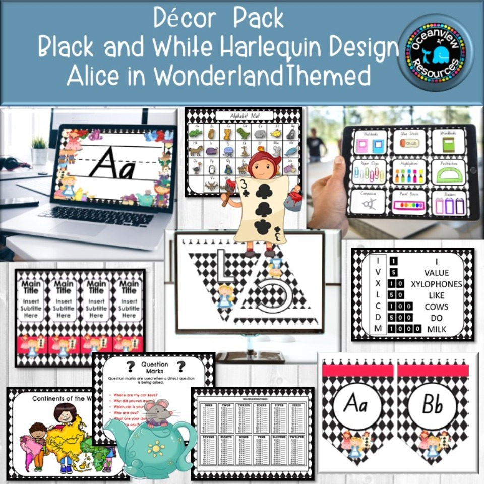 Alice in Wonderland- Black harlequin design Decor Pack