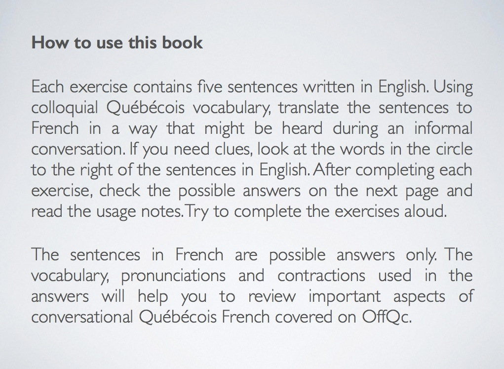 Say it in French: Translate 125 sentences to conversational Québécois French (PDF)