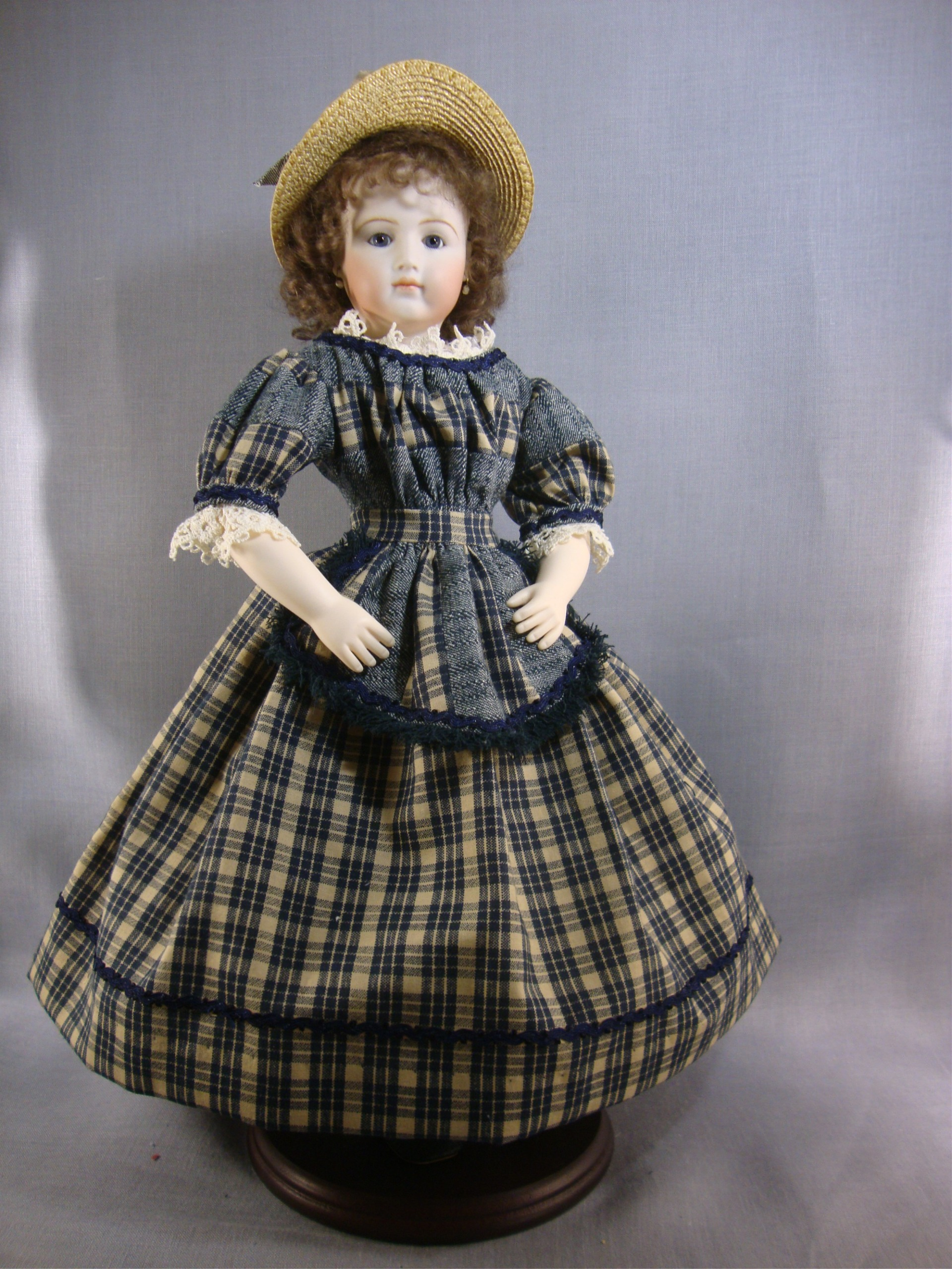 "Blue Plaid Dress for 12.5"" Jointed Body"
