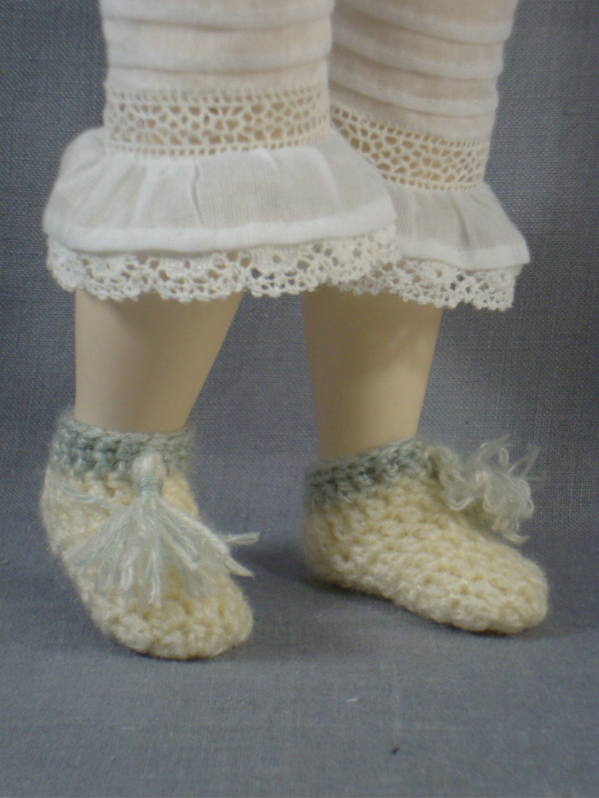 "Crocheted Slippers, Morning Cap and Sontag for 12.5"" Jointed Body"