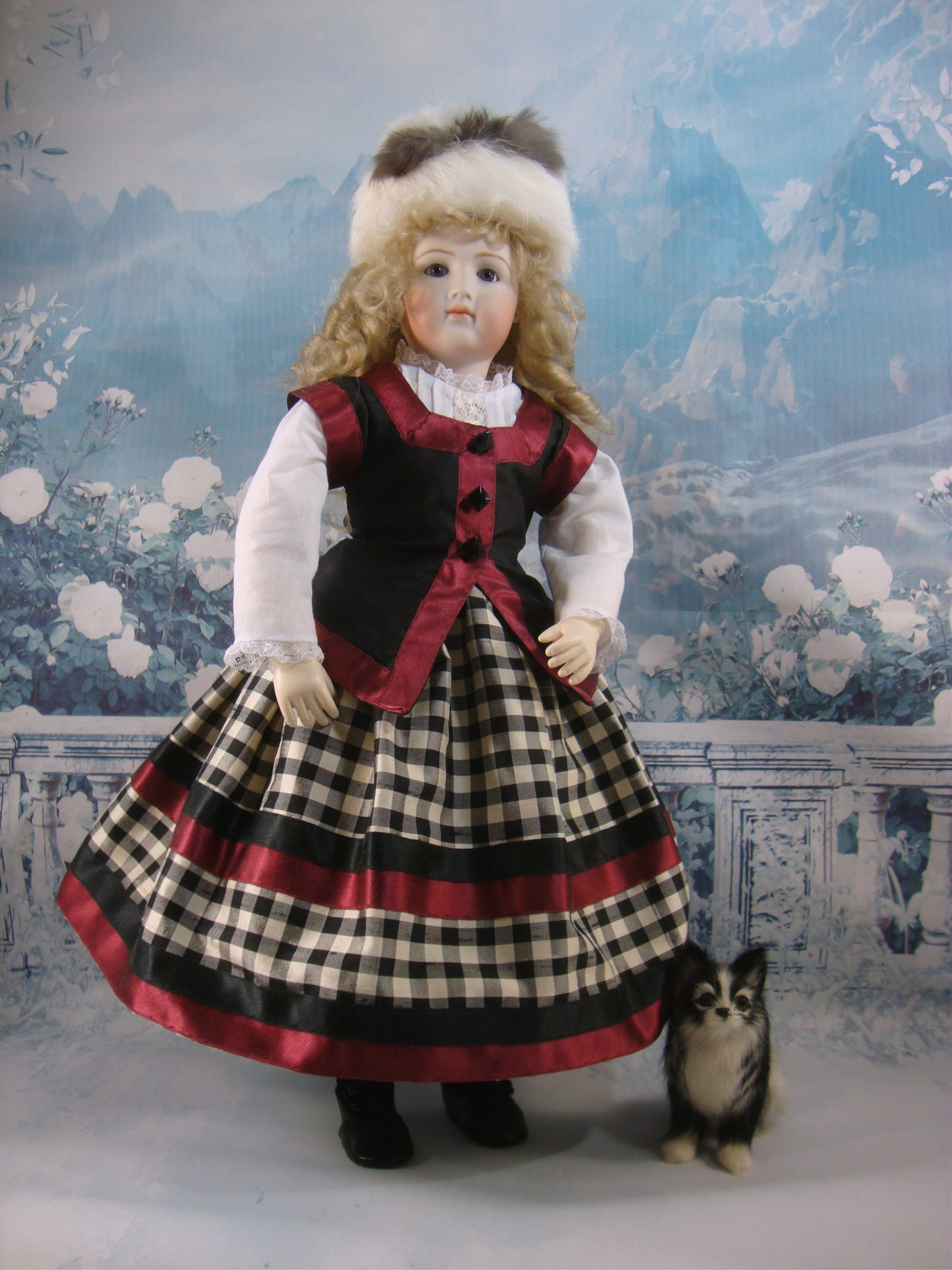 "Enfantine Christmas Dress Pattern for 12.5"" Jointed Body"
