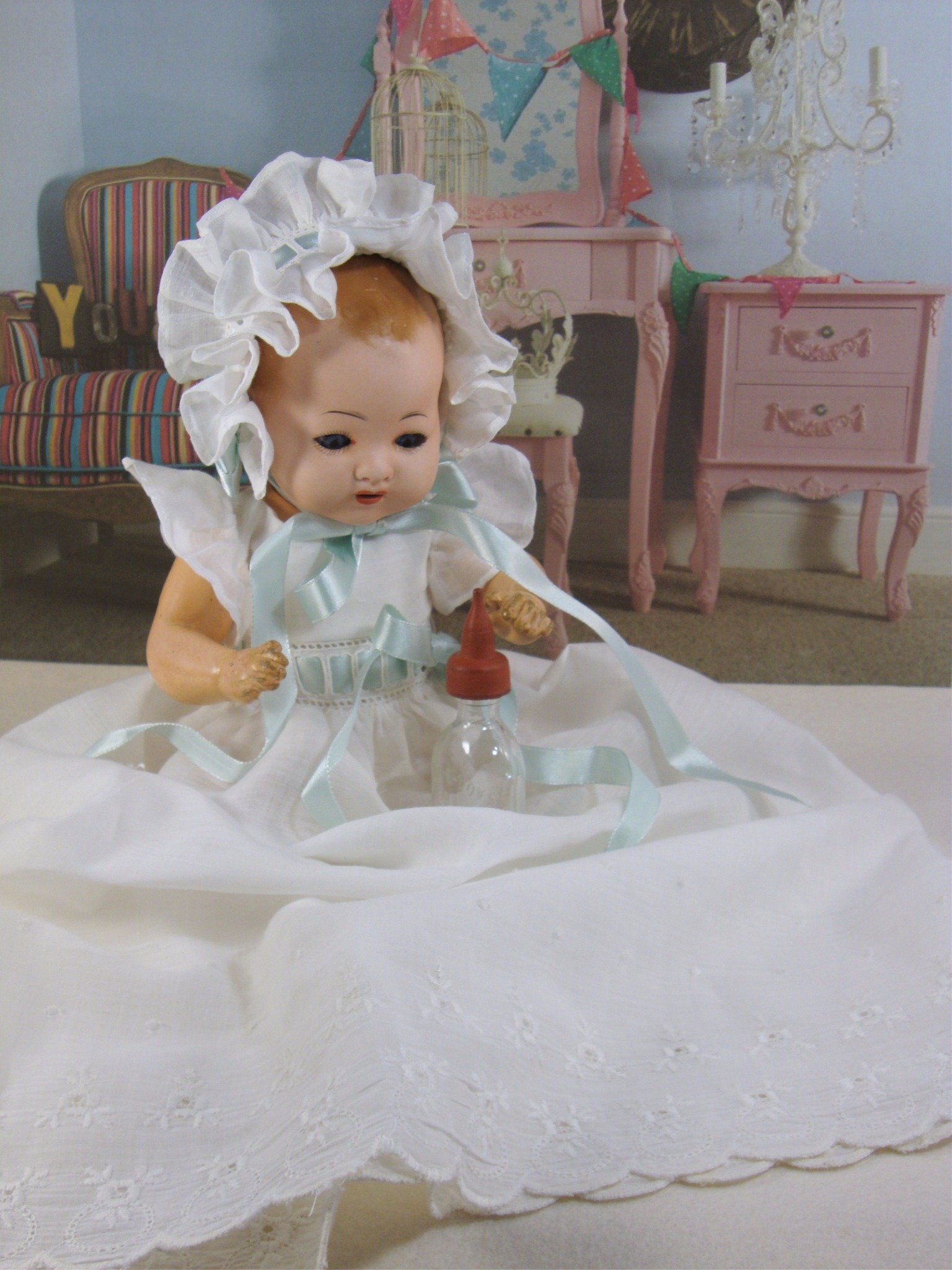 Bambino Pattern Les Dragees Christening Gown and Bonnet