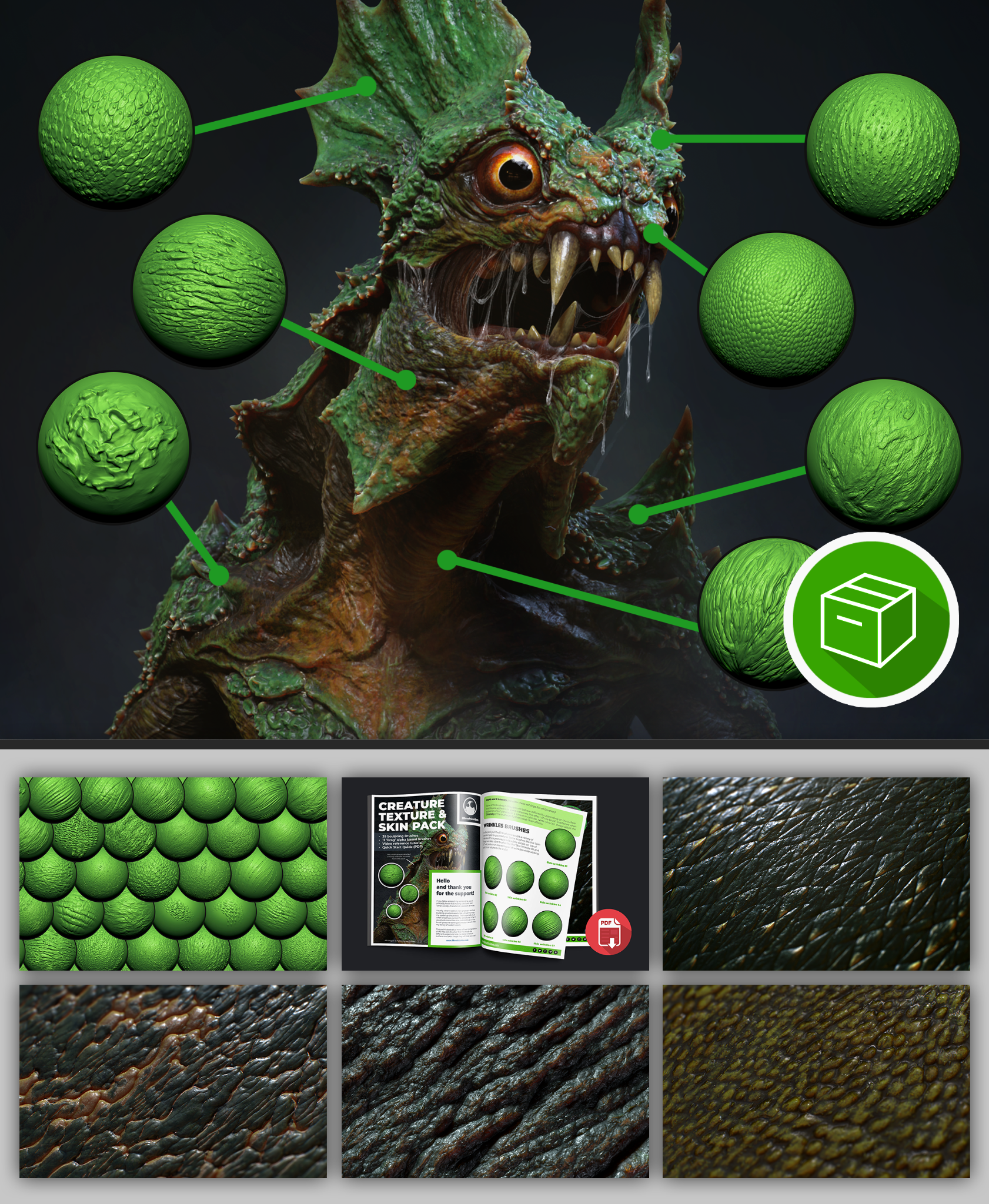 Creature texture and skin brushes pack