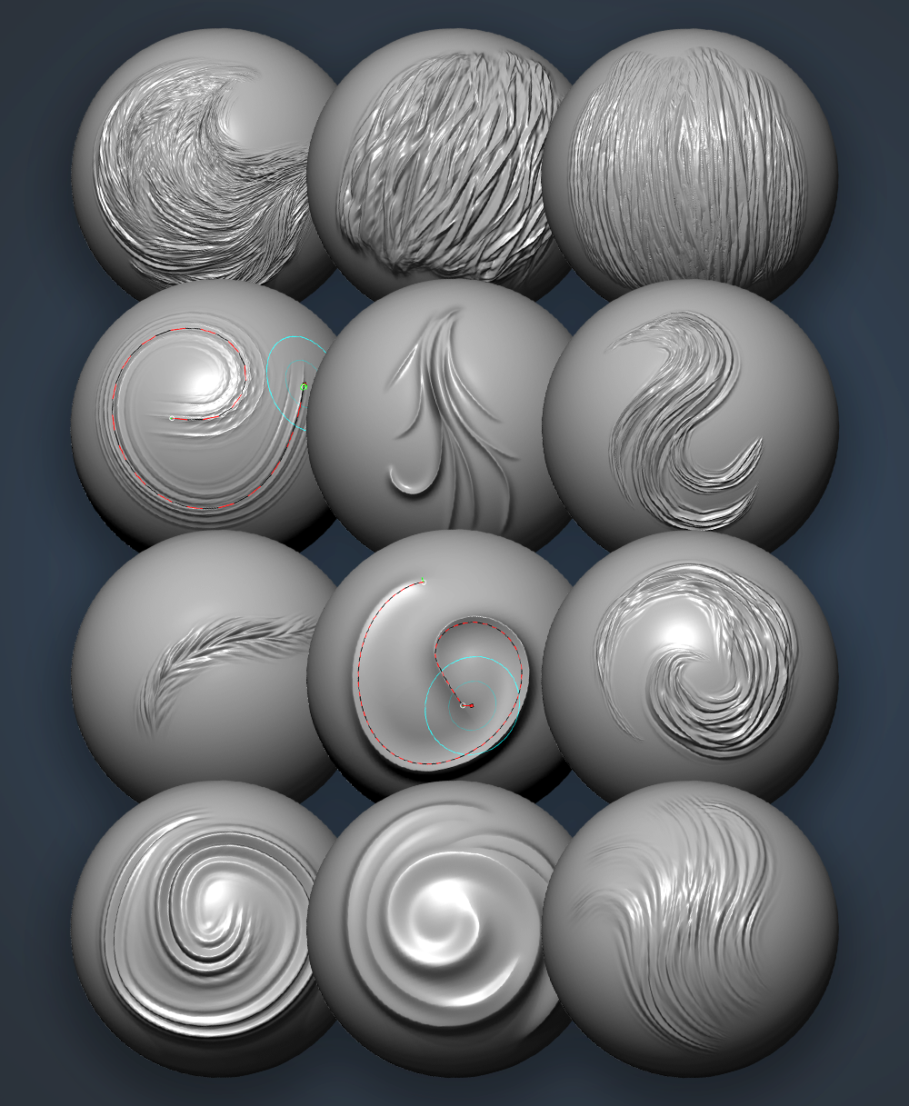 ZBrush sculpting hair brushes pack