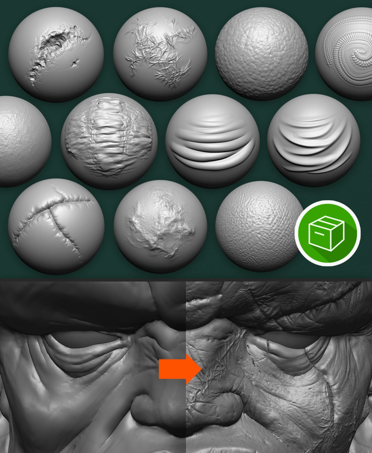 ZBrush Double Action Brushes - Creature Skin PACK