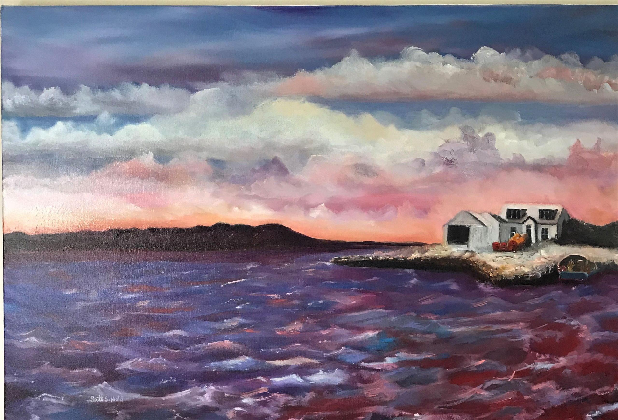 """""""Red Skye"""" Oil on Canvas a new Painting by Scott Sibbald"""