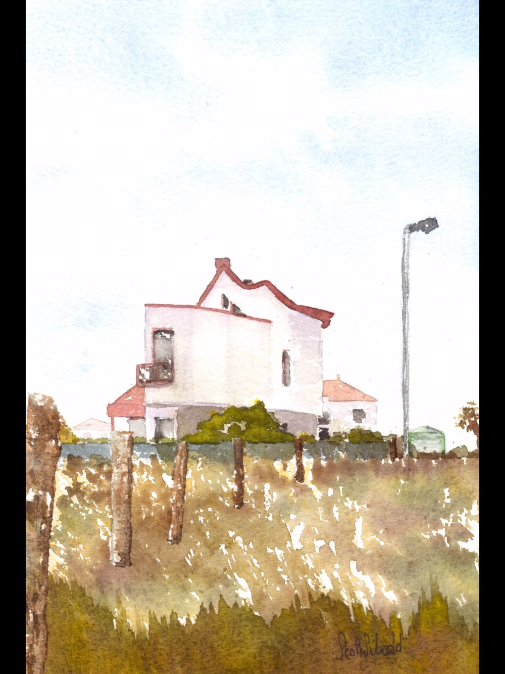 Original watercolour of rural home in Kiev Region, Ukraine.