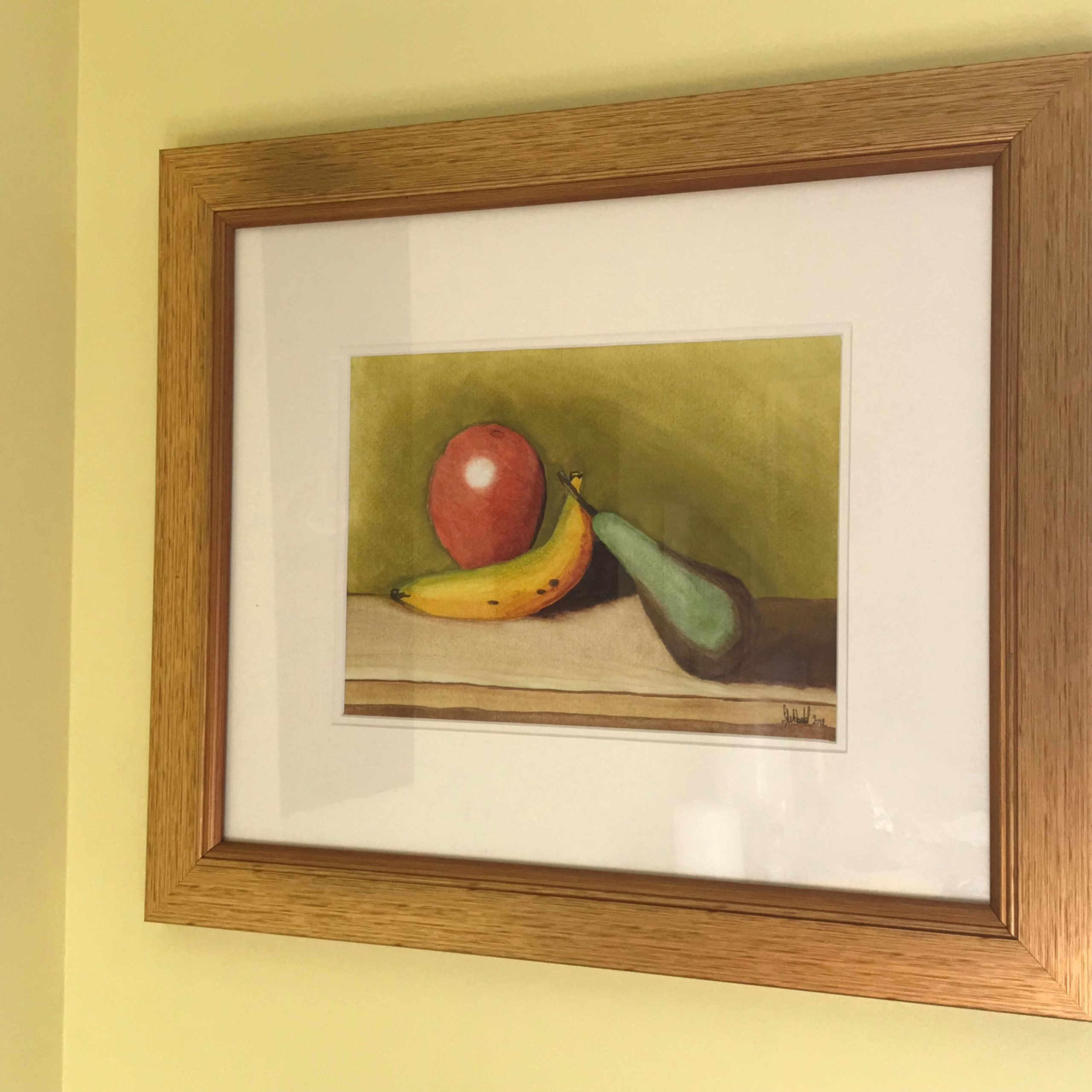"""5 Fruits per day, almost!"" a new painting by Scott Sibbald"