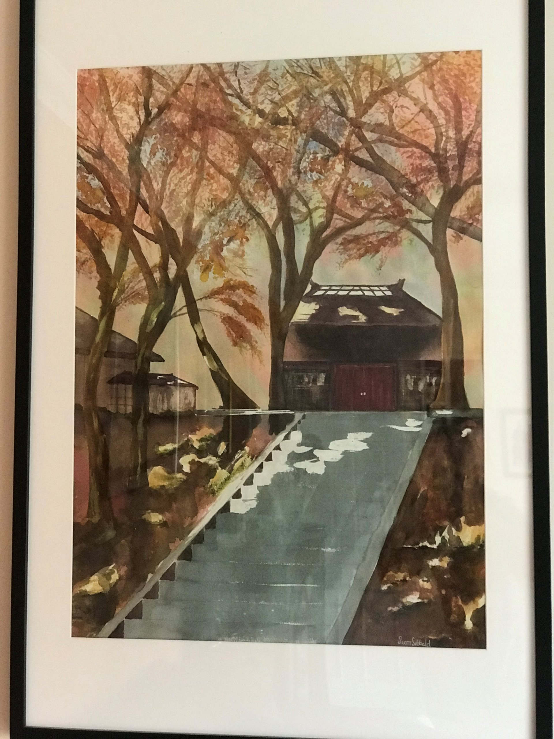 Autumn Garden Japan painted in Watercolour a new Painting by Scott Sibbald