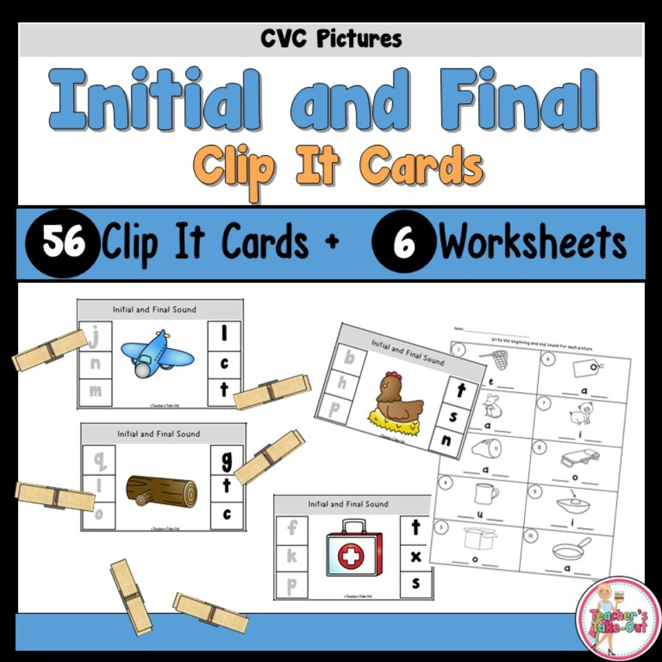 Initial and Final Sounds Clip It Task Cards and Worksheets