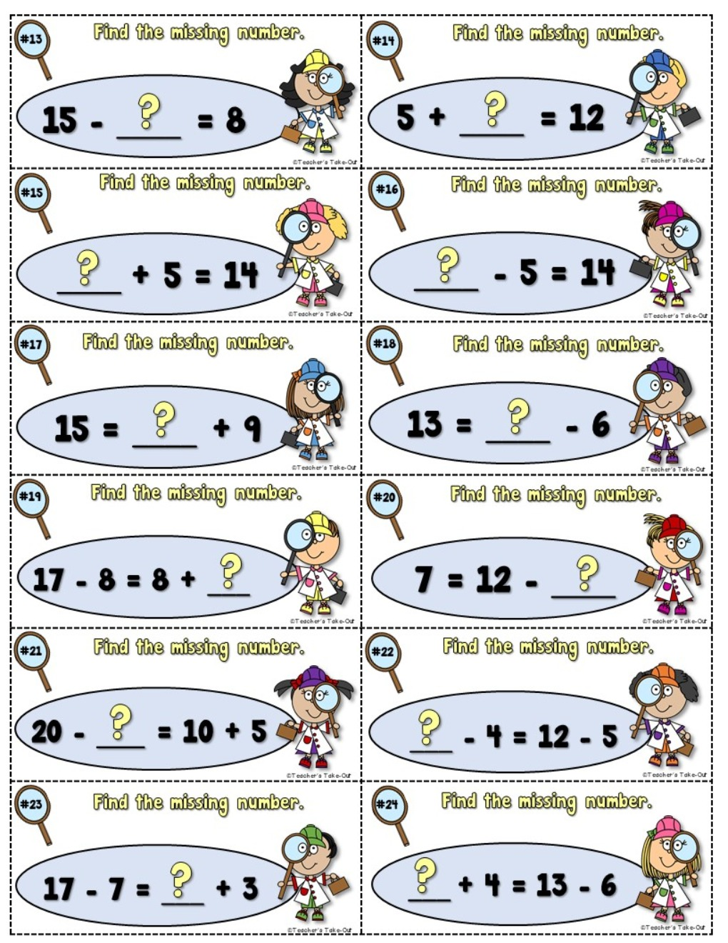 Missing Numbers Using Addition and Subtraction Equations