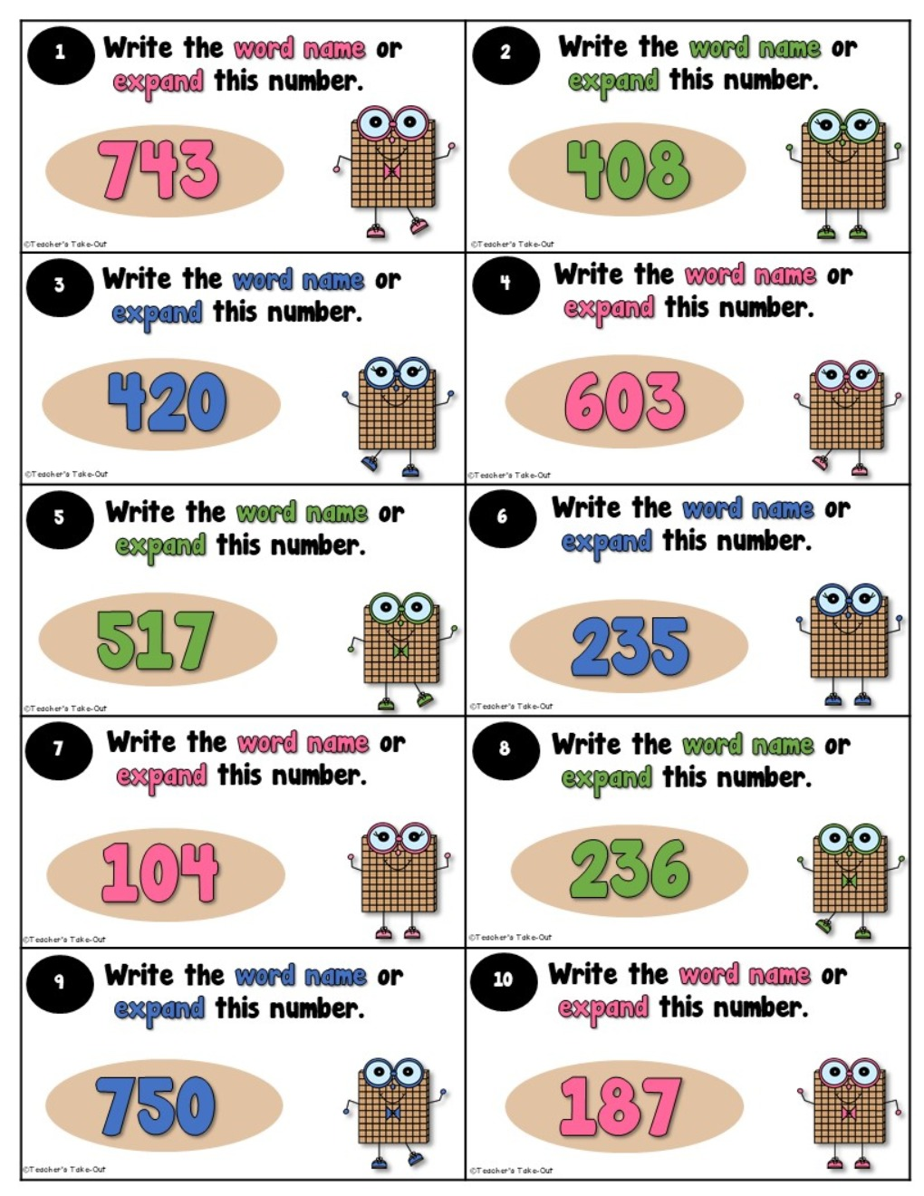 3 Digit Place Value using Standard, Expanded Form, and Word Name