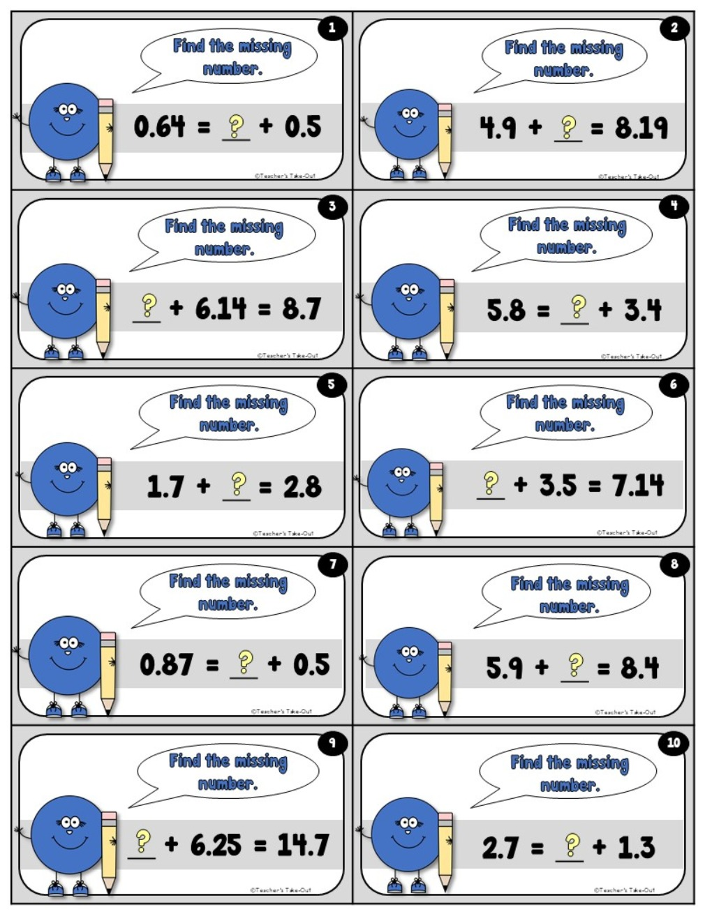 Decimal Task Cards to Add Subtract and Multiply