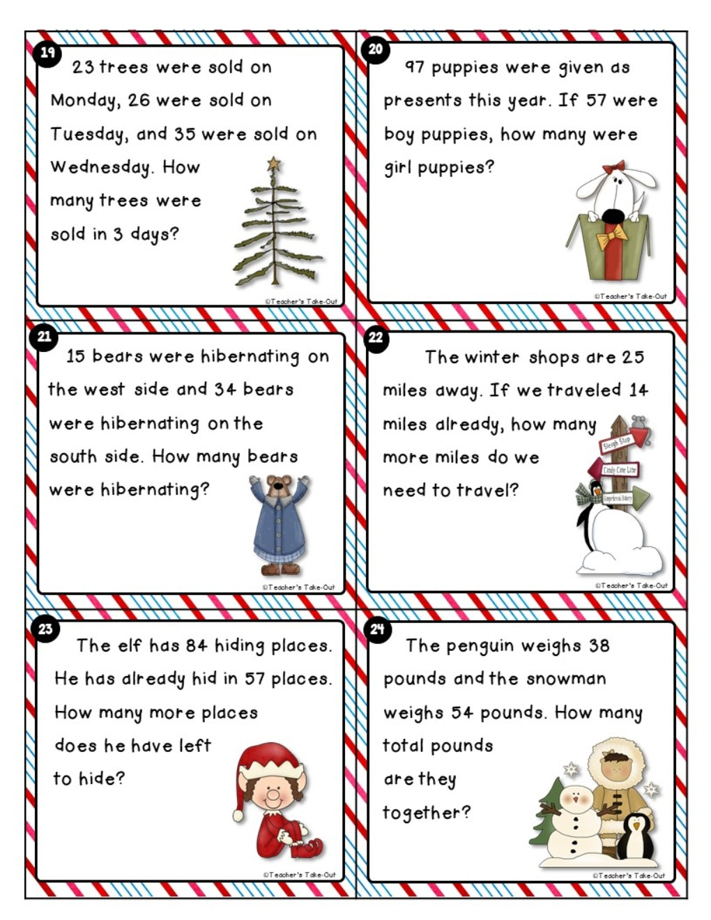 Winter Word Problems 2-Digit Add/Sub
