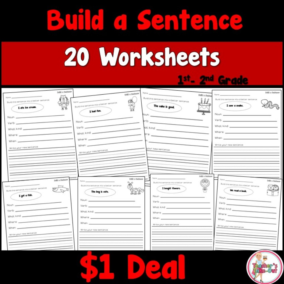 Build a Sentence Worksheets Dollar Deal