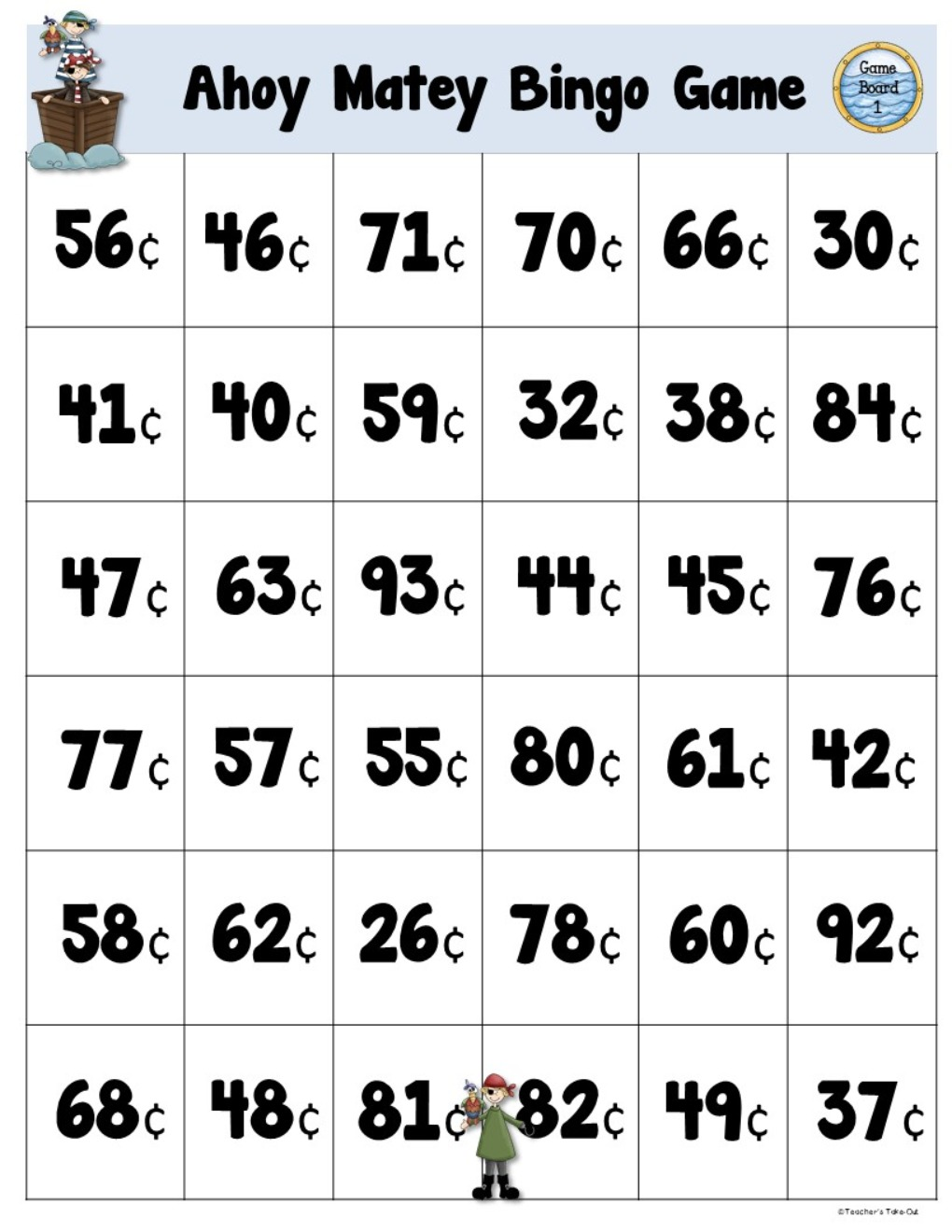 Coin Counting Task Cards for Games and Centers